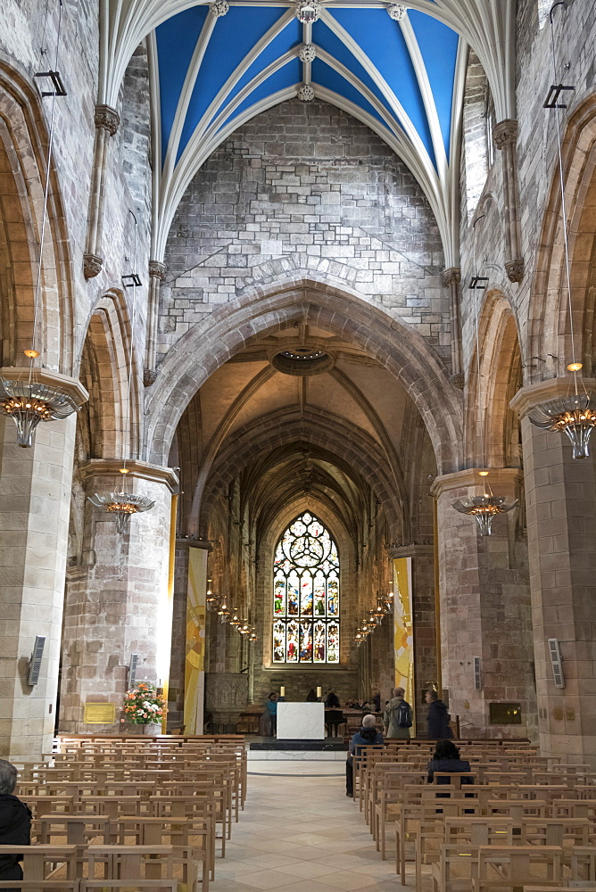 Interior looking east from the nave, St. Giles' Cathedral, Edinburgh, Scotland, United Kingdom, Europe