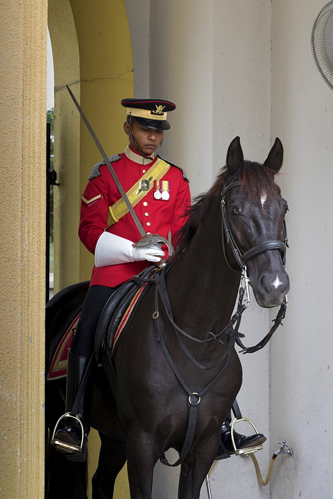 Mounted sentry at Royal Palace (Istana Negara), Kuala Lumpur, Malaysia, Southeast Asia, Asia
