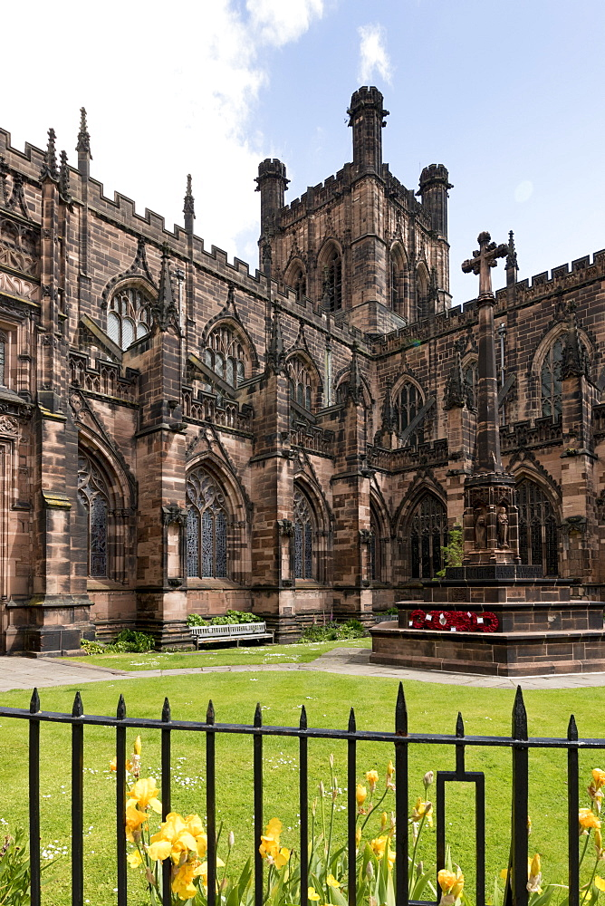 Chester Cathedral, tower from Southwest, Chester, Cheshire, England, United Kingdom, Europe - 489-1648