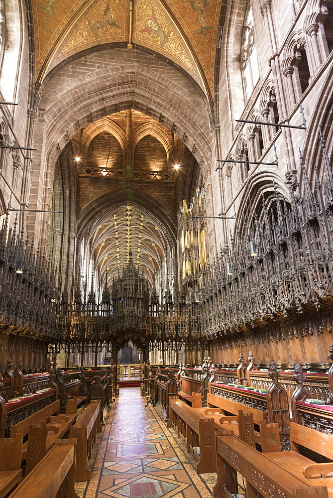 Chester Cathedral choir looking West, Cheshire, England, United Kingdom, Europe - 489-1653