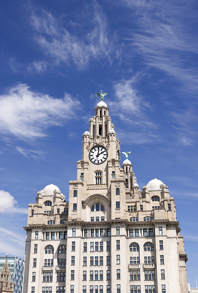 The Royal Liver Building close-up, UNESCO World Heritage Site, Liverpool, Merseyside, England, United Kingdom, Europe