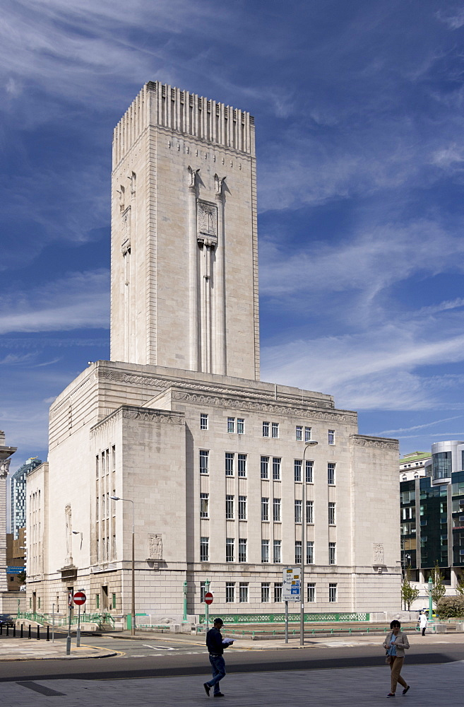 The Art Deco Mersey Tunnel ventilation tower and offices, Pierhead, Liverpool, Merseyside, England, United Kingdom, Europe
