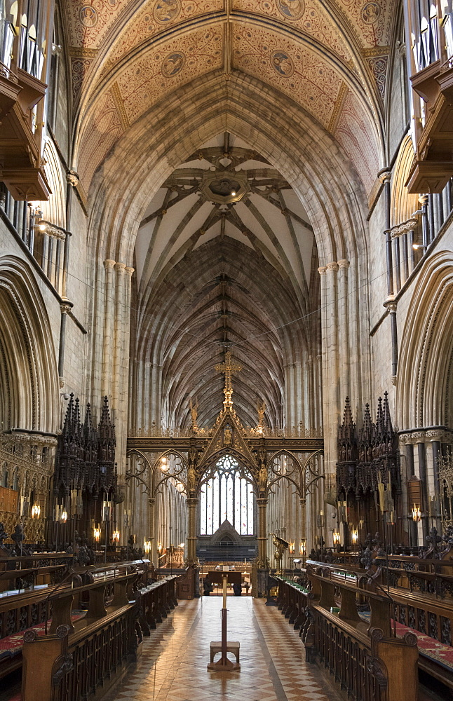 Choir and nave looking West, Worcester Cathedral, Worcester, England, United Kingdom, Europe - 489-1672