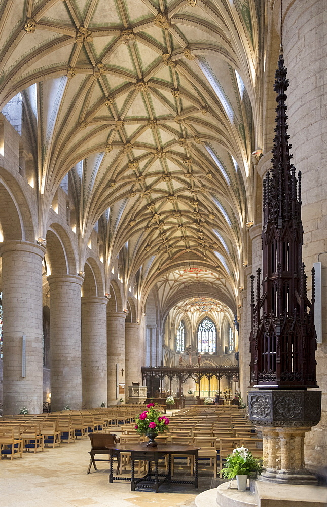 Interior looking East and font, Tewkesbury Abbey, Gloucestershire, England, United Kingdom, Europe - 489-1679
