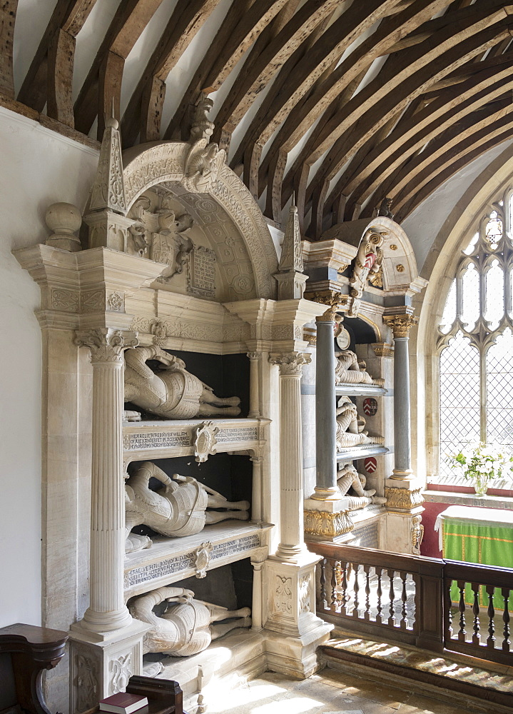 Fettiplace Monuments, St. Mary's Church, Swinbrook, Oxfordshire, Cotswolds, England, United Kingdom, Europe - 489-1689