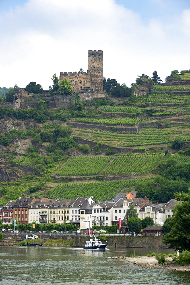 Kaub and Gutenfels Castle, River Rhine, Germany, Europe - 489-1781