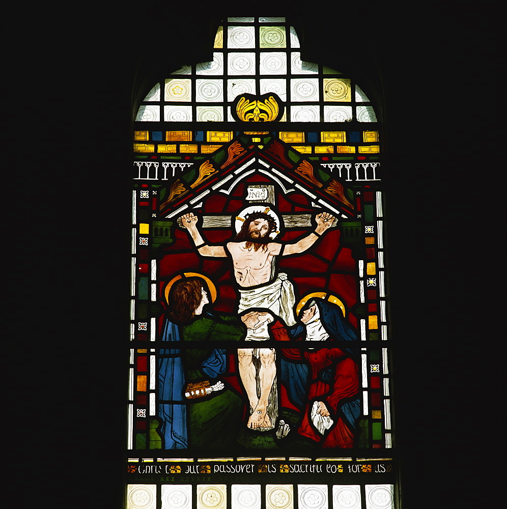 Crucifixion by Maddox Brown, stained glass by William Morris Company, Selsley church, Gloucestershire, England, United Kingdom, Europe