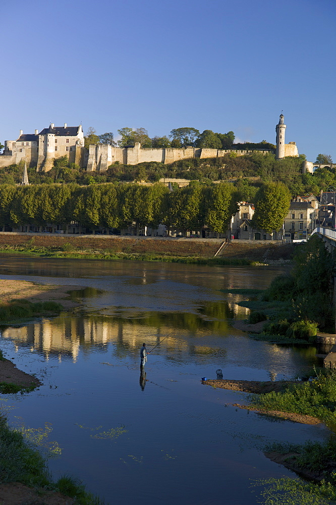 Chateau and River Vienne, Chinon, Indre-et-Loire, Touraine, France, Europe - 492-3504