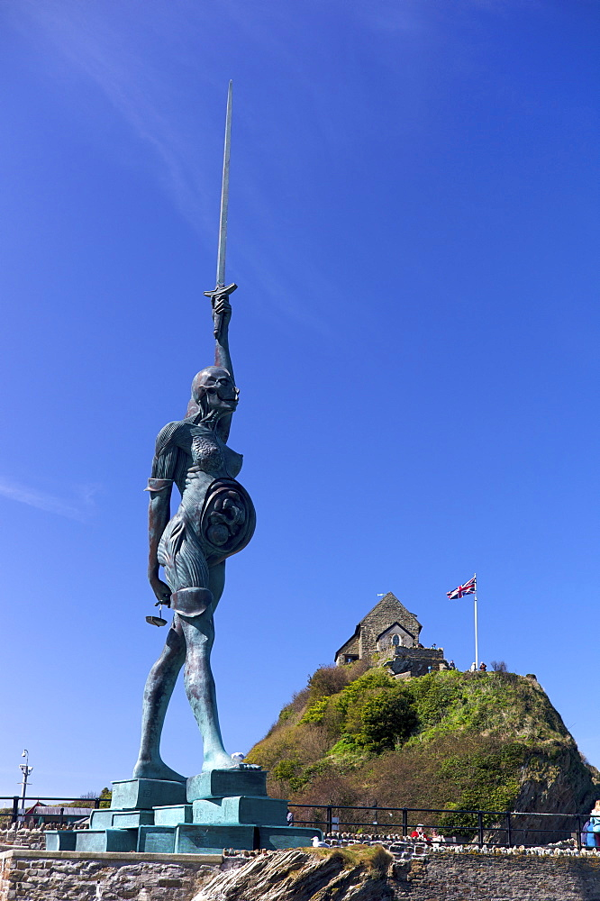 Verity statue by Damien Hirst, Ilfracombe, Devon, England, United Kingdom, Europe - 492-3525