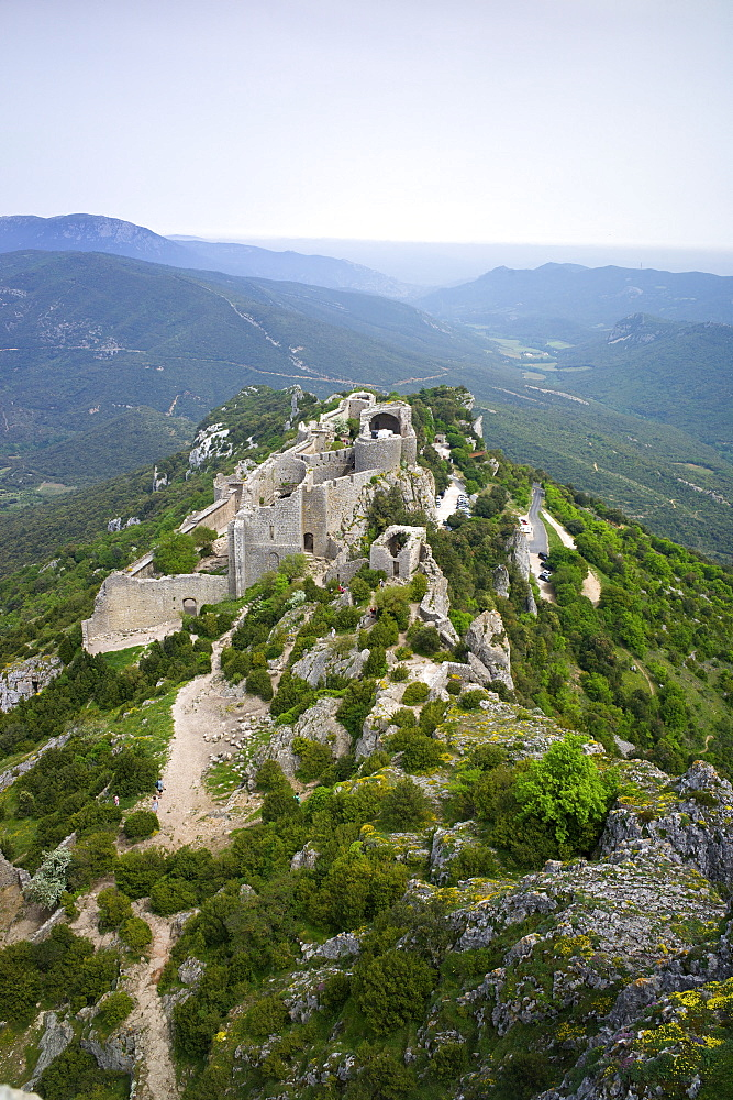 Peyrepertuse Cathar castle, French Pyrenees, France, Europe - 492-3569