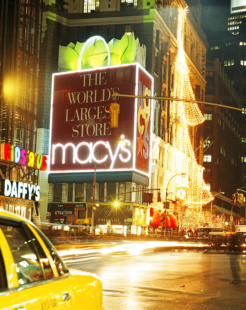 Christmas lights, Macy's, New York City, New York, United States of America, North America