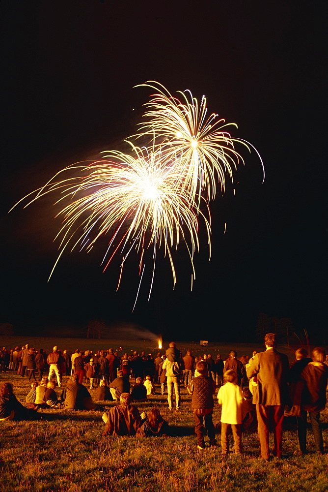 Crowd watching fireworks display, United Kingdom, Europe - 505-2286