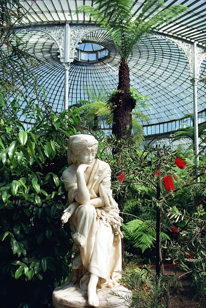 Statue in glasshouse at the Botanic Gardens, Glasgow, Scotland, United Kingdom, Europe