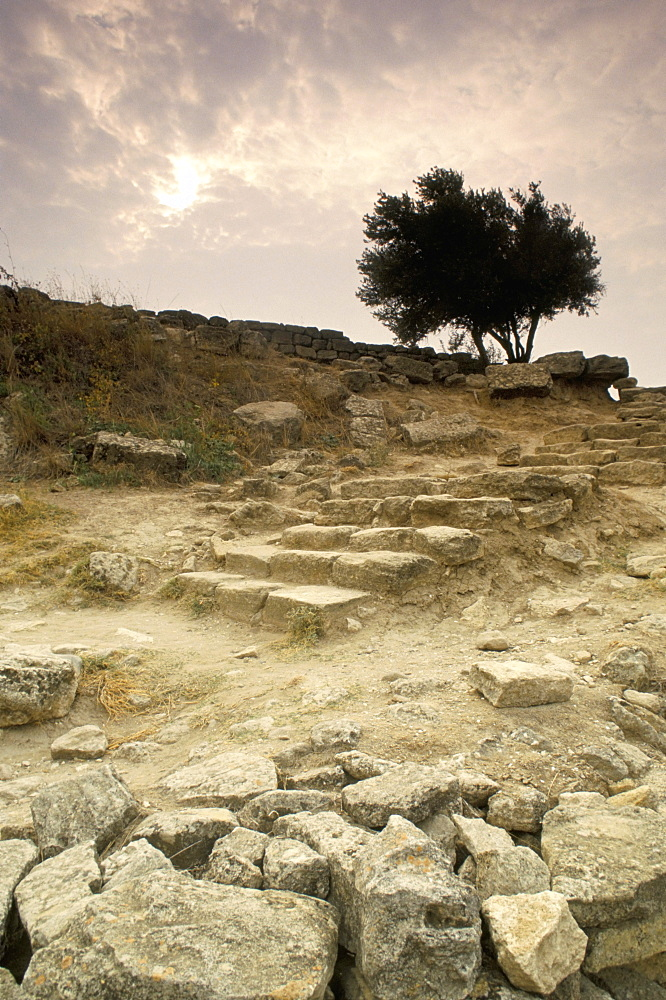 Stone carriage ramp from Homeric period, Troy, UNESCO World Heritage Site, Anatolia, Turkey, Asia Minor, Asia