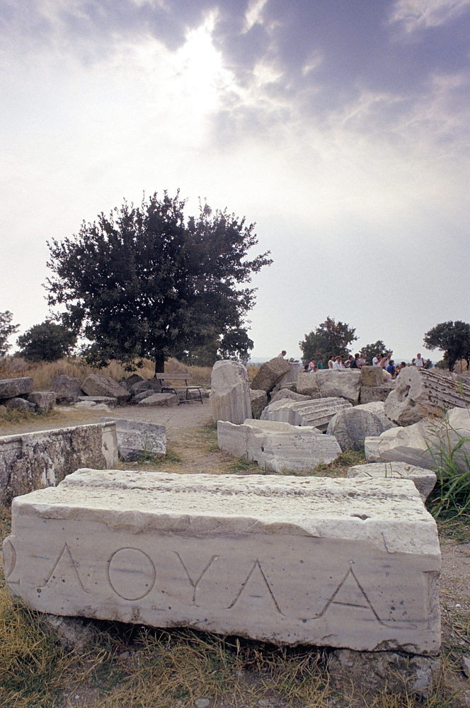 Inscription 'Trova', not from Homeric period, Troy, UNESCO World Heritage Site, Anatolia, Turkey, Asia Minor, Asia