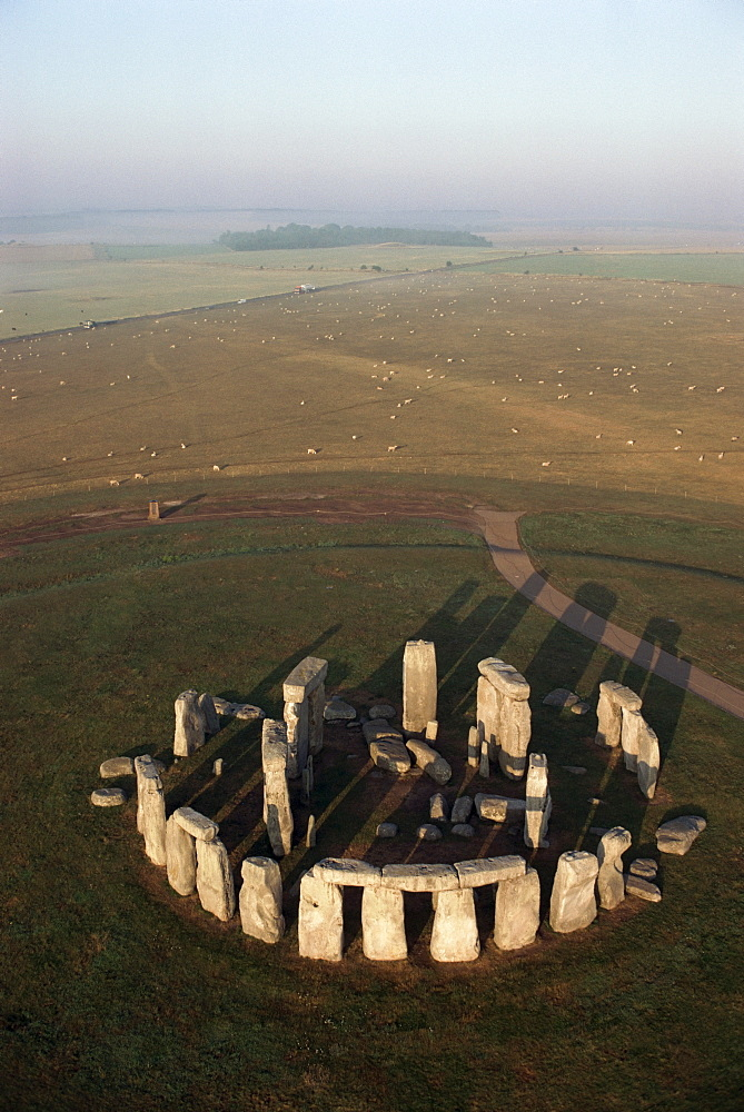 Aerial view of Stonehenge, UNESCO World Heritage Site, Salisbury Plain, Wiltshire, England, United Kingdom, Europe - 508-20433