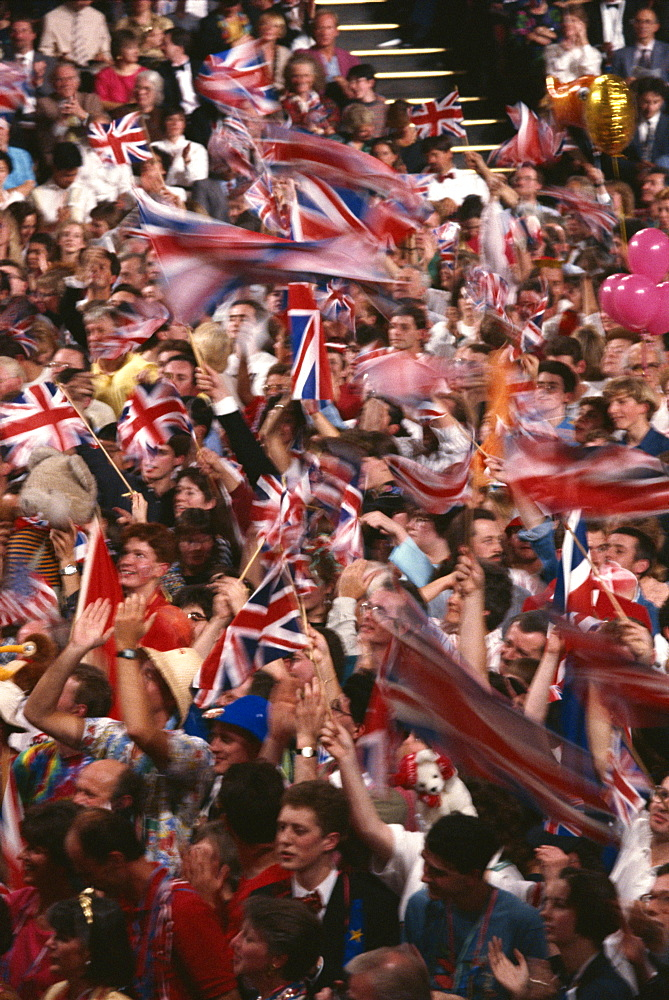 Audience at the Last Night of the Proms in 1992, Royal Albert Hall, Kensington, London, England, United Kingdom, Europe