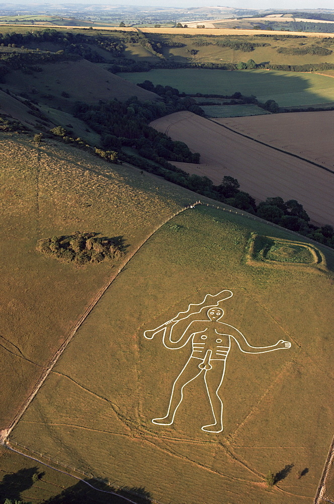 Aerial view of the Cerne Abbas giant, Dorset, England, United Kingdom, Europe