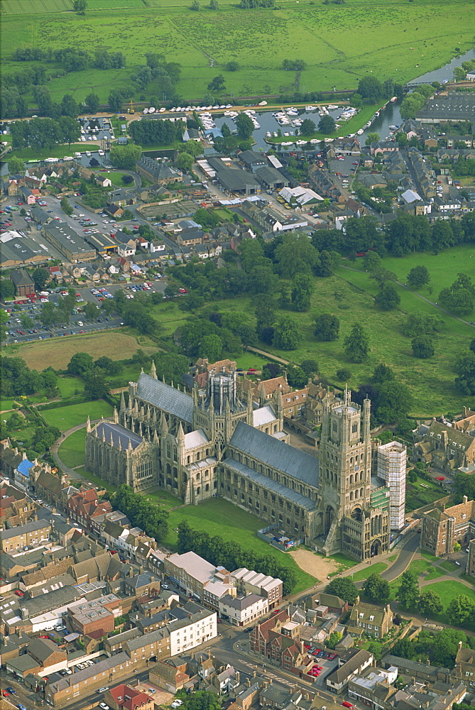Ely Cathedral from the air, Cambridgeshire, England, United Kingdom, Europe - 508-43233