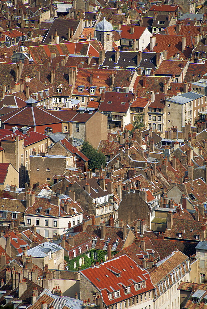 Aerial view taken from the Fort de Chaudanne, of houses in the city of Besancon, in Franche-Comte, France, Europe