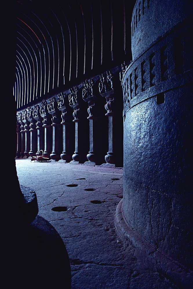 Karla caves, dating from the first century BC, near Mumbai, Maharashtra state, India, Asia - 508-8048