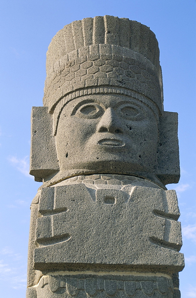Carved column at Toltec archaeological site, Tula, Mexico, North America