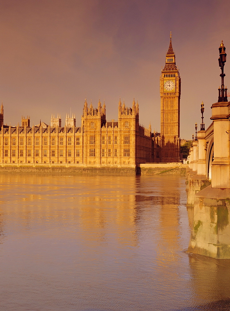 The Palace of Westminster and Big Ben (Houses of Parliament), across the River Thames, London, England, UK