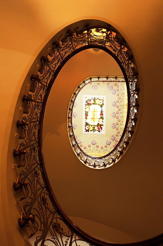 Staircase in Casa Modernista, art nouveau house, Novelda, Valencia region, Spain, Europe - 526-3167