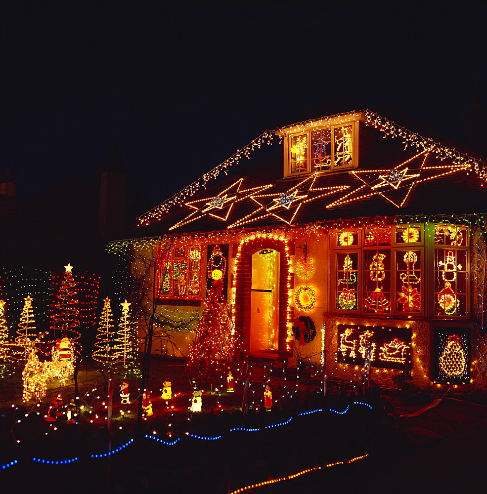House covered in Christmas lights, United Kingdom, Europe