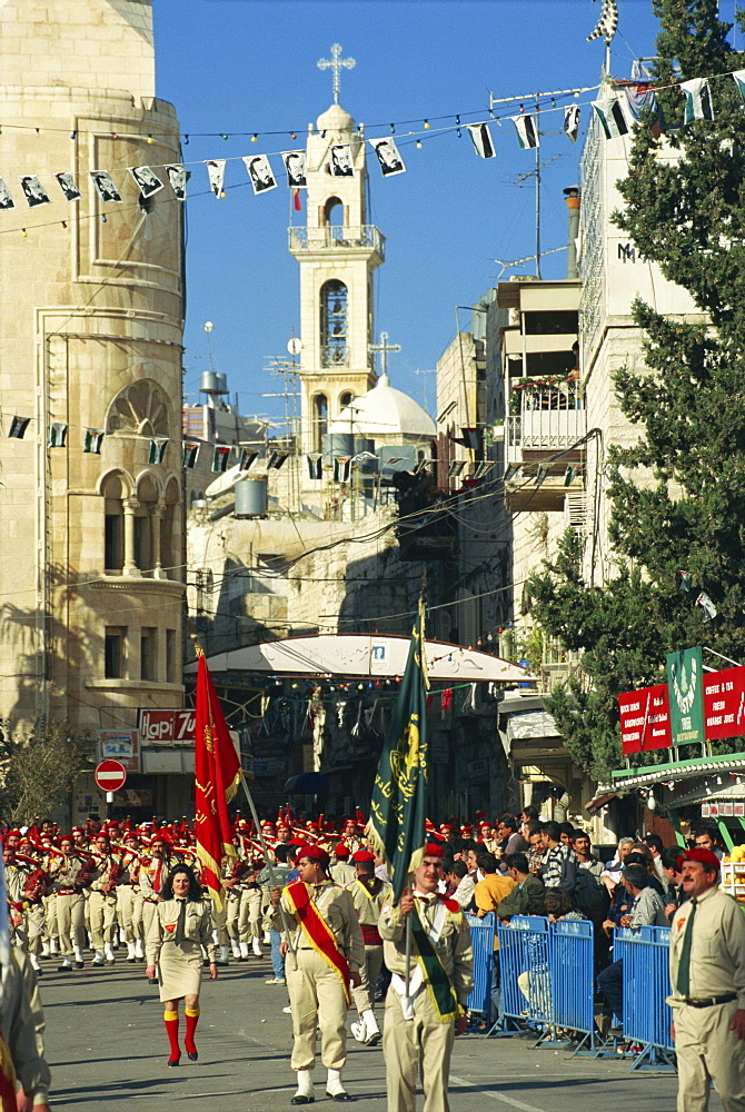 Scout bands marching, Christmas Day, Bethlehem, Israel, Middle East