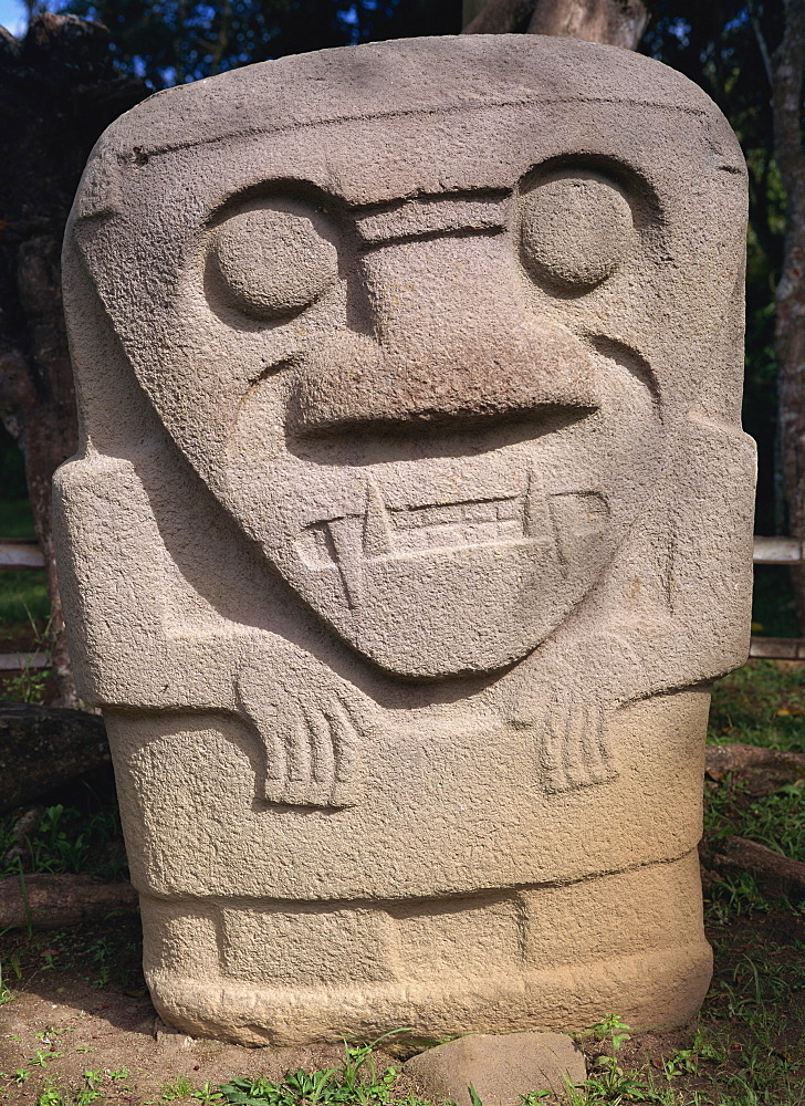 Close-up of statue with sharp teeth in the Archaeological Park at San Augustin in southwest Colombia, South America