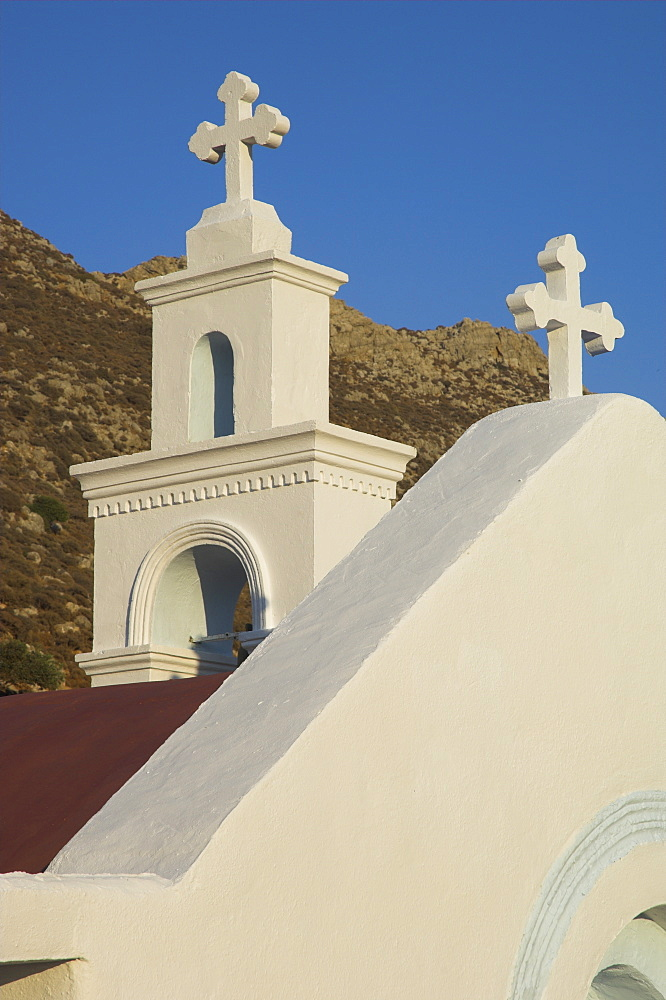Crosses on top of small white chapel on the road to Kato Zakros, east coast, Crete, Greek Islands, Greece, Europe