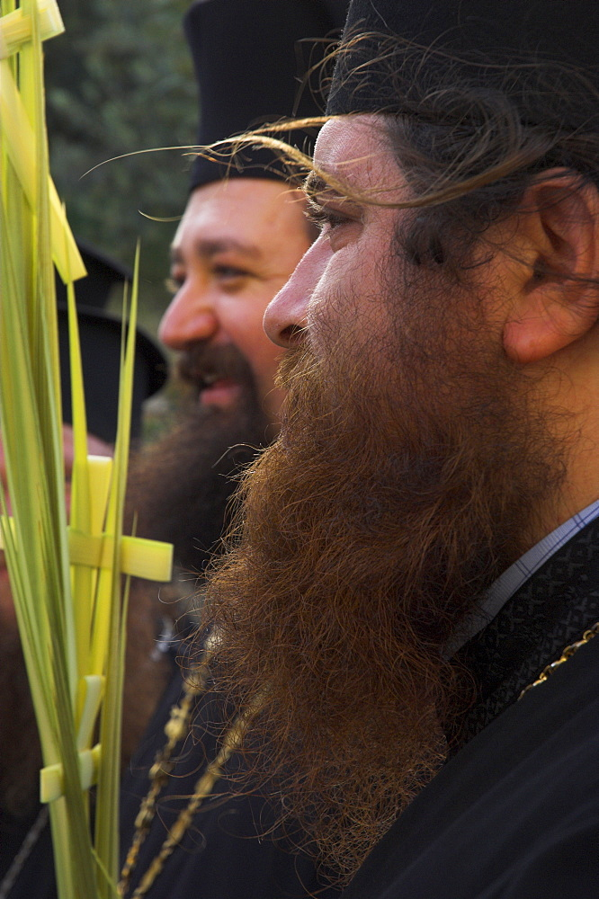 Two Greek priests holding palms during Orthodox Easter Palm procession from Betphage to the Old City, Mount of Olives, Jerusalem, Israel, Middle East