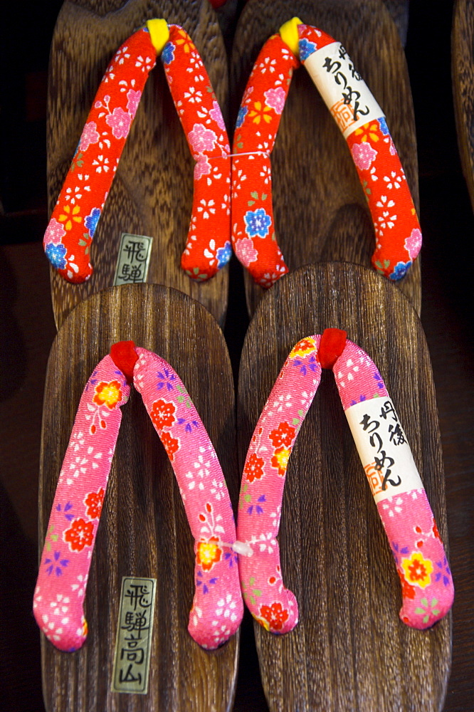 Traditional shoes with wooden sole and colourful straps, Sanmachi, Takayama, Hida District, Honshu, Japan, Asia - 557-3139