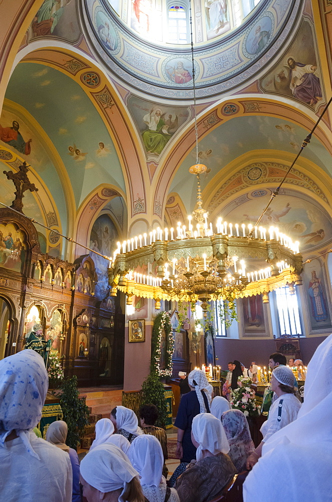 Saturday mass at the Trinity Russian Orthodox Church in the Russian Compound, Jerusalem, Israel, Middle East - 557-3396