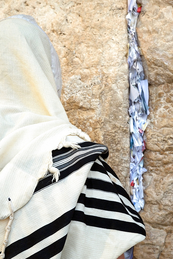 Jew with prayer shawl praying at the Western Wall, Jerusalem ld City, Israel, Middle East