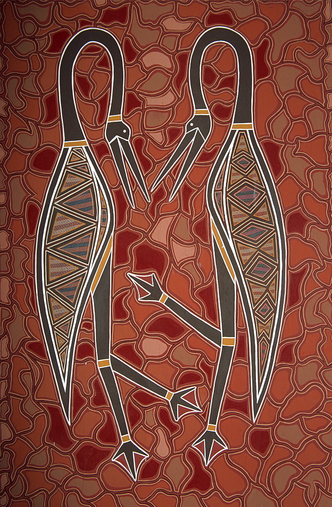 Paintings from the Dreamtime including two birds, Australia, Pacific