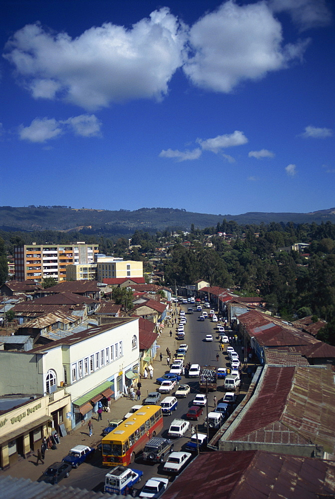 Aerial view over street scene in Addis Ababa, Ethiopia, Africa
