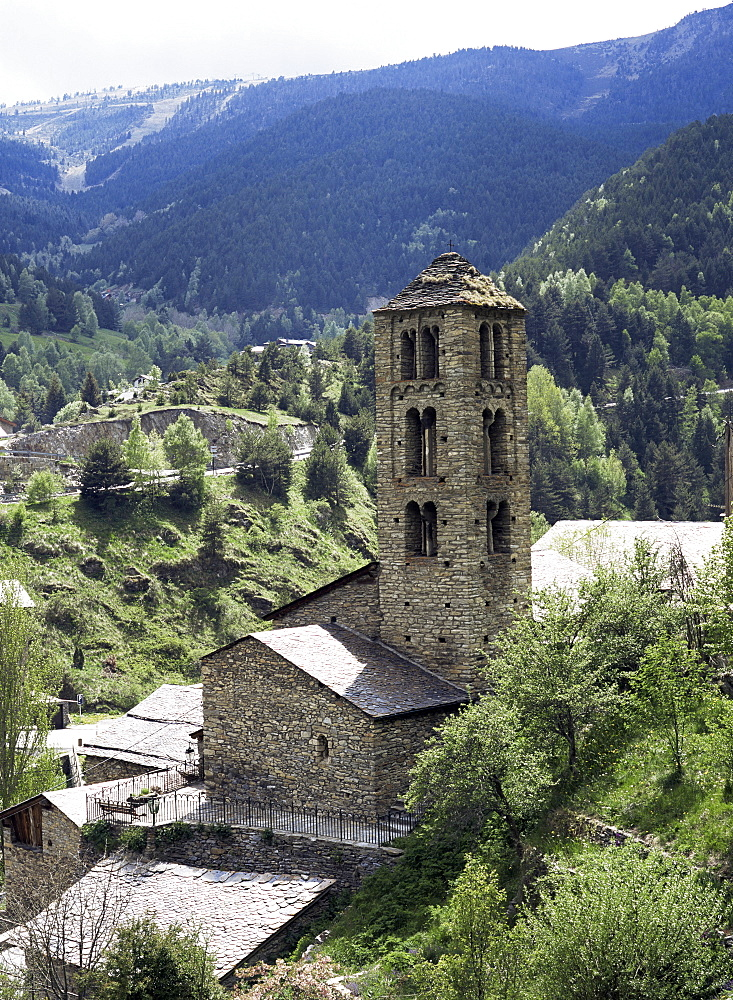 Church of St. Climent de Pal, Lombard Romanesque belfry from 12th century has double arched windows, Pal, Parish of La Massana, Andorra, Europe