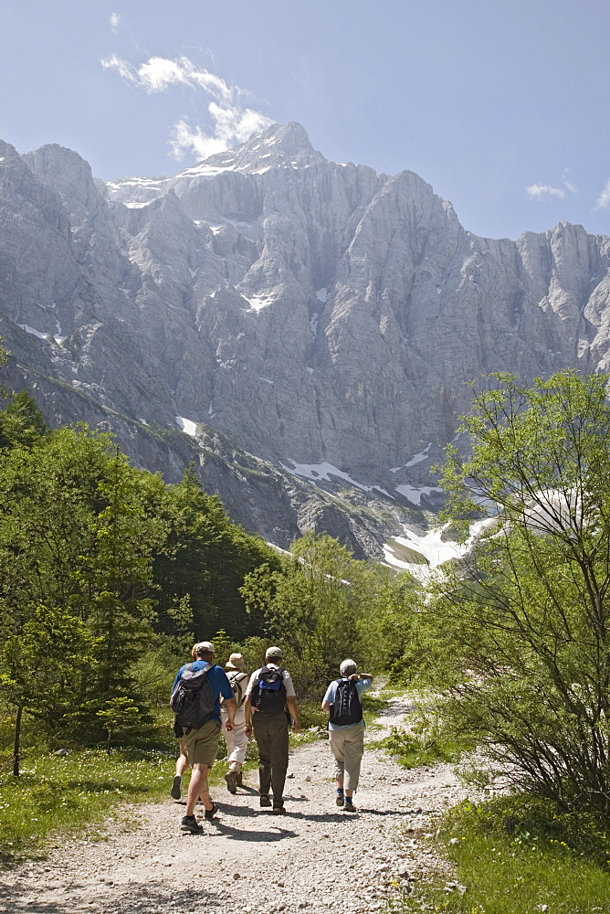 Tourist group in summer in Vrata valley walking towards Triglav mountain, the highest in Slovenia, Triglav National Park, Julian Alps, Mojstrana, Dolina, Slovenia, Europe