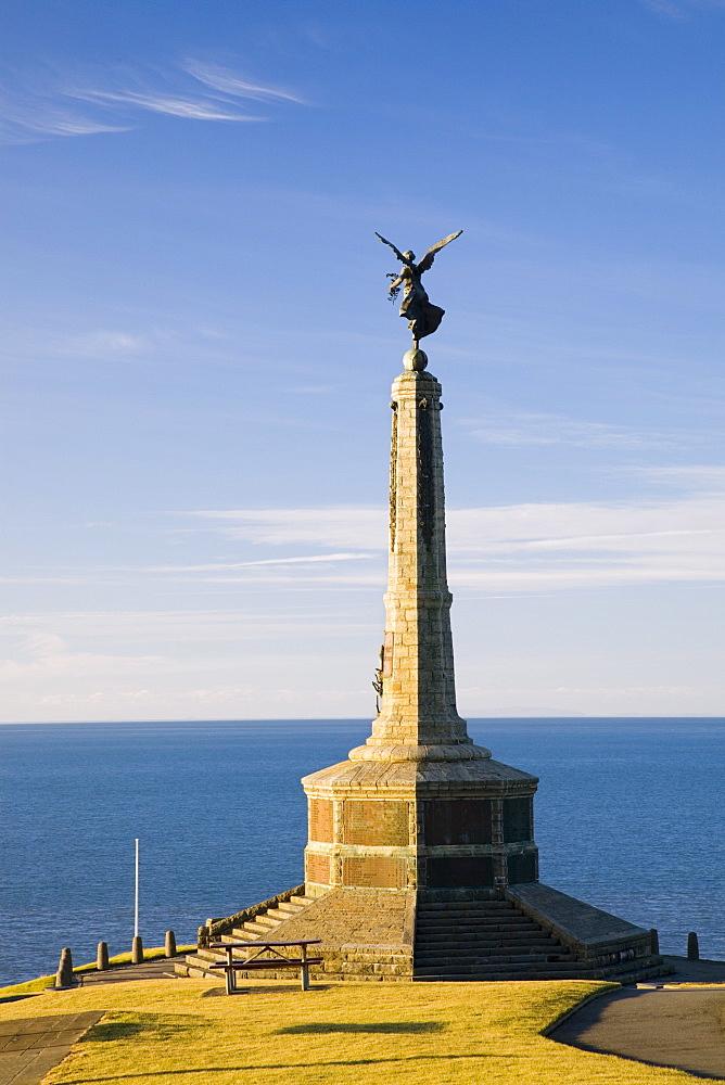 Tower sculpted by Italian sculptor Mario Rutelli, War Memorial 1946 on Castle Point on Cardigan Bay, Aberystwyth, Ceredigion, Dyfed, mid Wales, United Kingdom, Europe - 586-1406