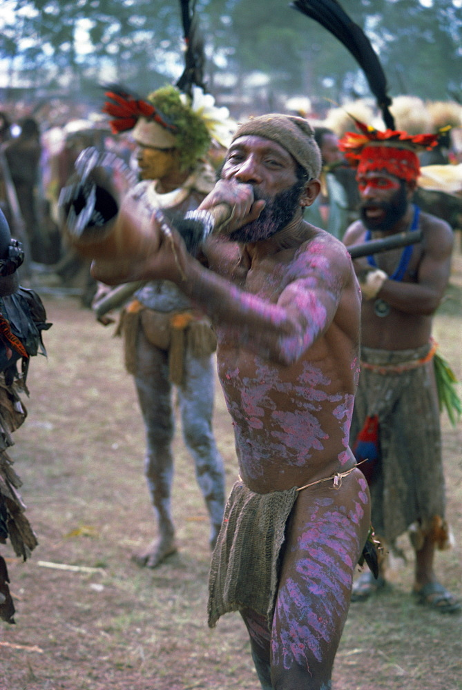 Horn player from Whagi, Eastern Highlands, Papua New Guinea, Pacific