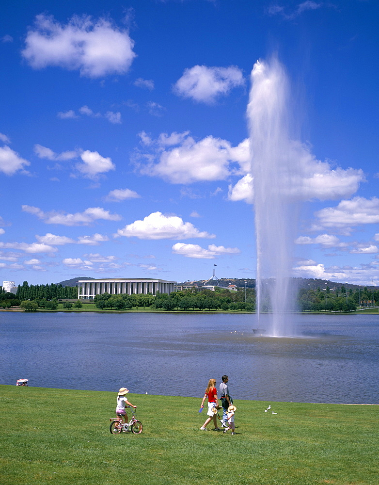 Captain Cook Memorial Fountain (Water Jet), Lake Burley Griffin, Canberra, Australian Capital Territory, Australia, Pacific