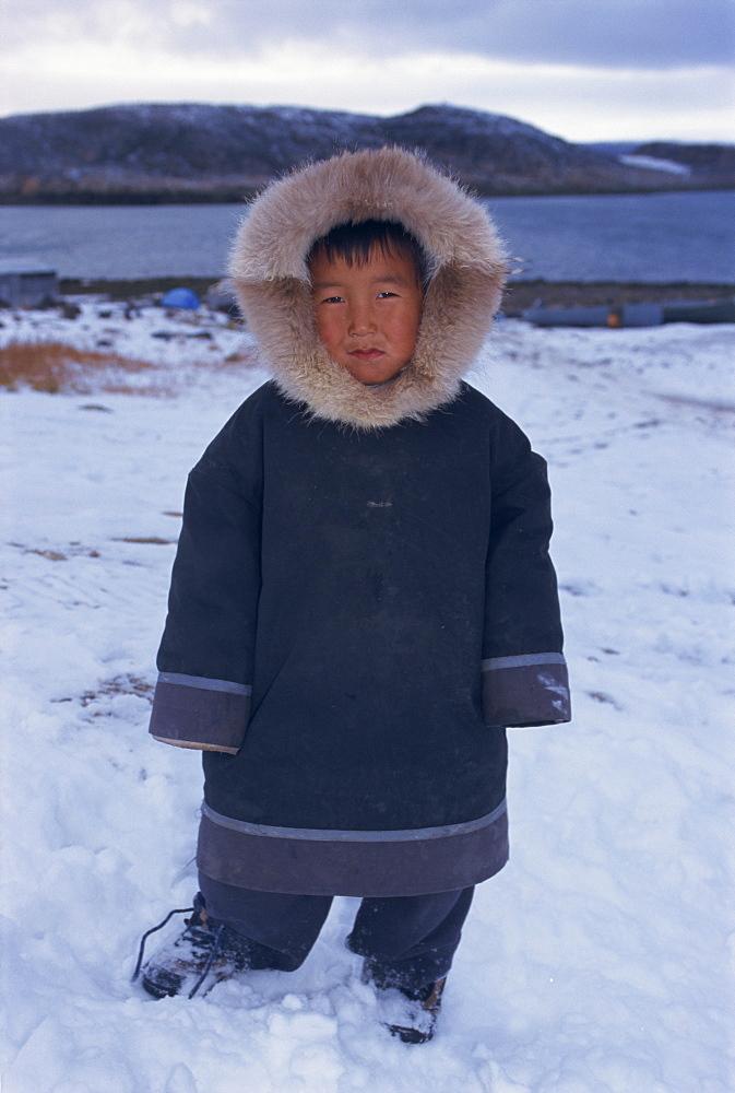 Inuit boy in fur parka, Manumikila, Cape Dorset, Baffin Island, Canadian Arctic, Canada, North America