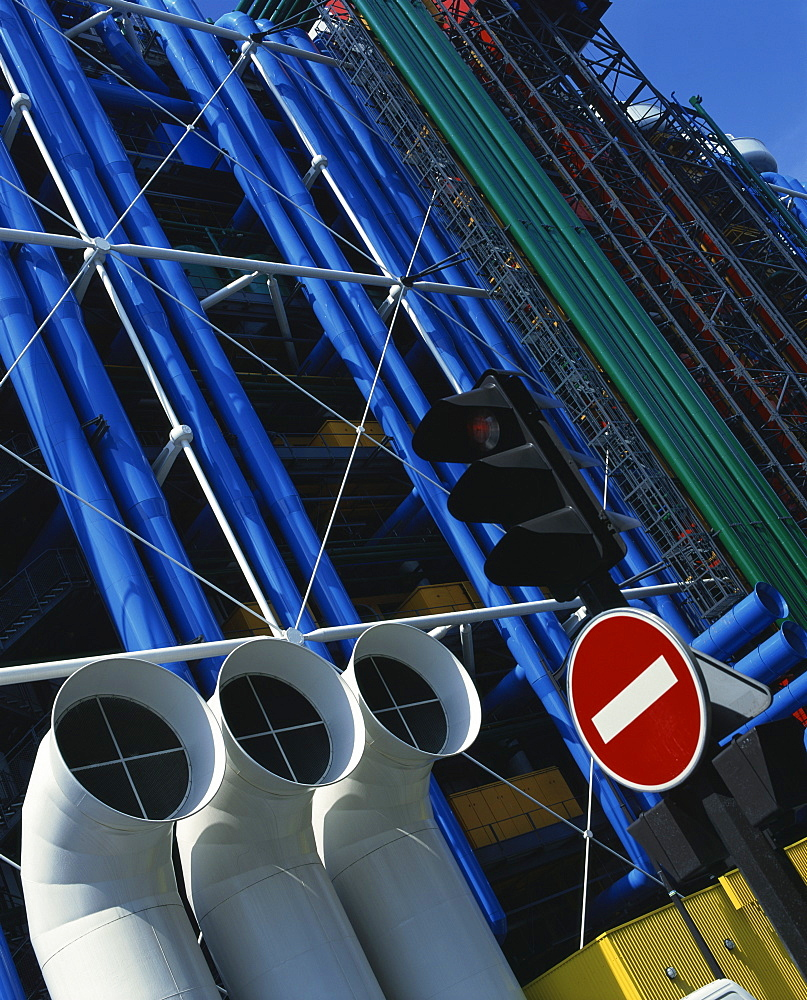 Exterior detail of pipes at the Pompidou Centre, Beaubourg, Paris, France, Europe