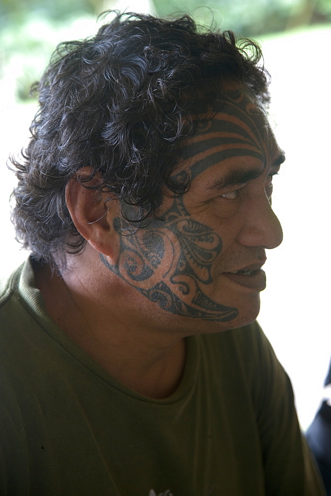 Tatoo, face, Puamau, Hiva Oa, Marquesas Islands, French Polynesia