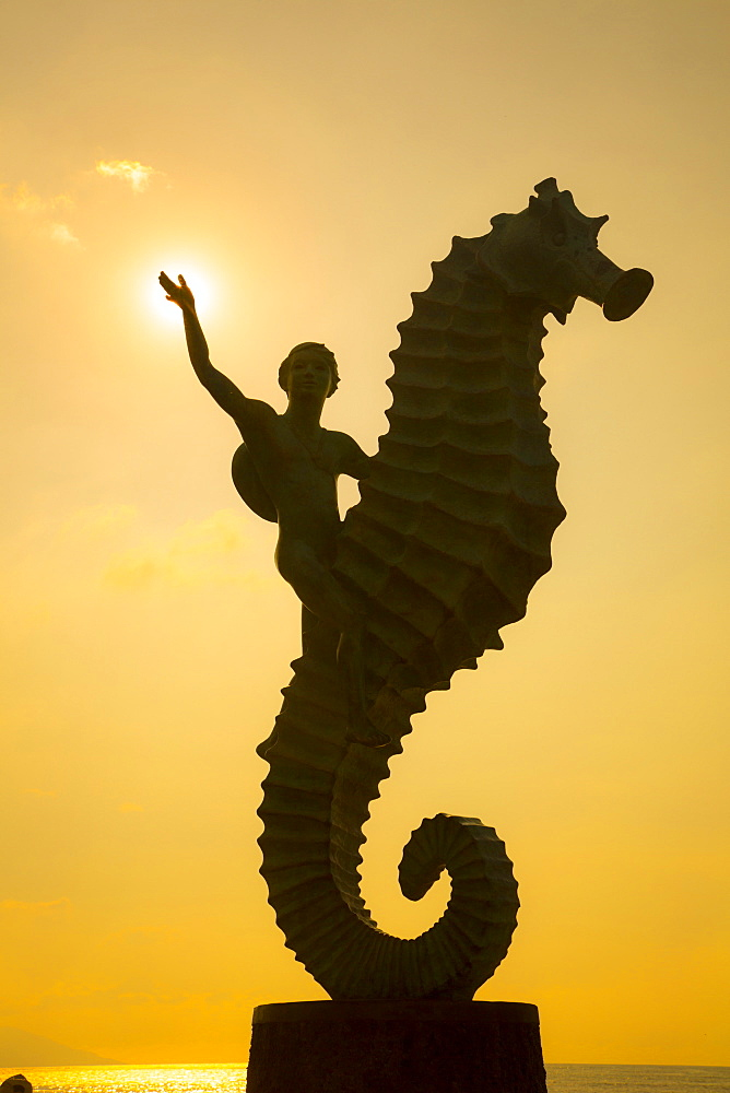 Caballero del Mar (The Seahorse) by Rafael Zamarripa, 1976, The Malecon, Puerto Vallarta, Jalisco, Mexico, North America - 632-5336
