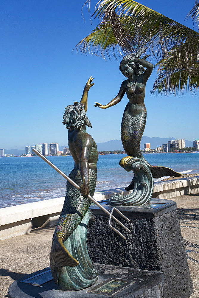 Triton and the Nereid by Carlos Espino, 1990, The Malecon, Puerto Vallarta, Jalisco, Mexico, North America - 632-5413