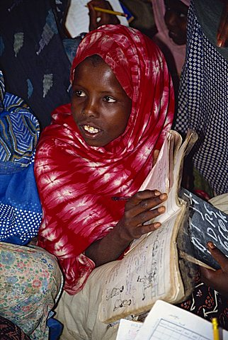 Young Somali woman at literacy class, Jijga, Ethiopia, Africa