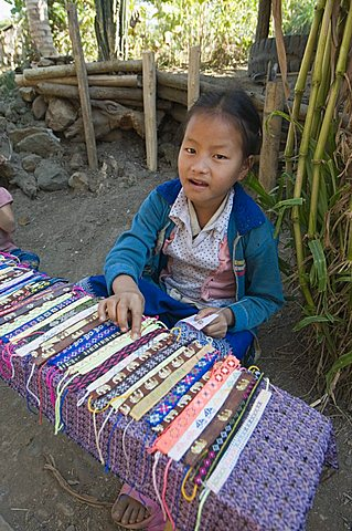 Hmong tribal village girls selling handicrafts, Luang Prabang, Laos, Indochina, Southeast Asia, Asia